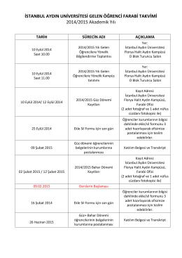 2014/2015 Akademik Yılı Gelen Öğrenci FARABİ Takvimi