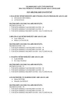 2014 yılı öğrenci temsilcileri secimi (enstitü) aday listeleri için tıklayınız