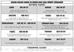 adana eczacı odası 18 kasım 2014 salı nöbet çizelgesi çare 361 08
