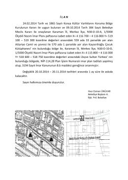 İ L A N 24.02.2014 Tarih ve 1865 Sayılı Konya Kültür Varlıklarını