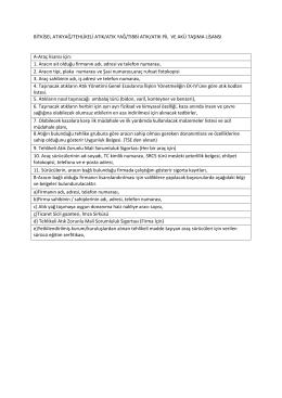 Bitkisel Atık Yağ/Tehlikeli Atık/Atık Yağ/Tıbbi Atık/Atık Pil ve