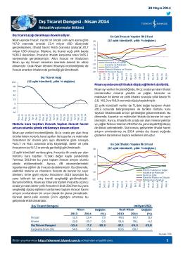 Dış Ticaret Dengesi - Nisan 2014