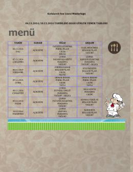 04-10 Kasım 2014 Yemek Listesi