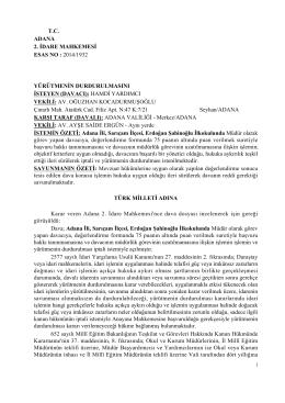 Adana 1. İdare Mahkemesinin Yürütmeyi - Türk Eğitim-Sen