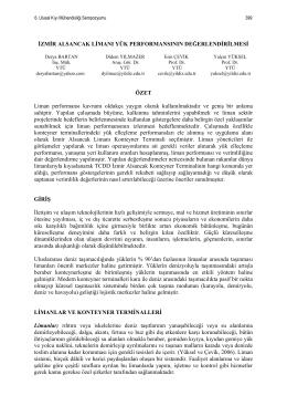izmir Alsancak Limanı Yük Performansının Değerlendirilmesi