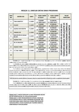 TELAFİ SINAVLAR I 05-16 O CA K 2015 TAR İH LER İ AR ASID A