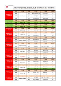 18 Aralık Maç Programı - Antalya Gençlik ve Spor İl Müdürlüğü