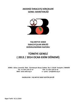 Ocak - Ekim 2014 - Türkiye Yaş Meyve Sebze İhracatçı Birlikleri