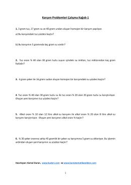 Karışım Problemleri Çalışma Kağıdı-1