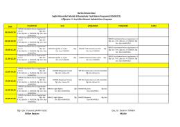 Yaşlı Bakımı Programı II. Sınıf Normal Öğretim Haftalık Ders