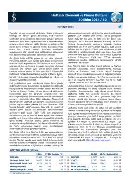 Haftalık Ekonomi ve Finans Bülteni 20 Ekim 2014 / 40