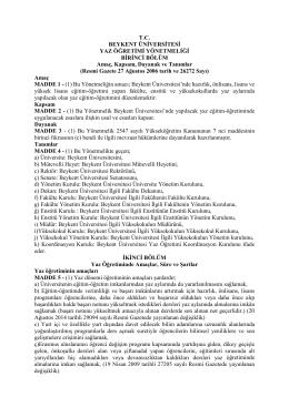 Beykent Üniversitesi Yaz Öğretimi Yönetmeliği