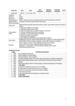 Dersin Adı Kodu Yarıyıl Teori (saat/hafta) Uygulama (saat/hafta