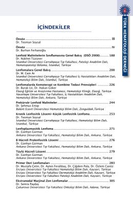 İÇİNDEKİLER - Türk Hematoloji Derneği