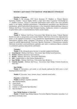 Spor Birliği Yönergesi - Mehmet Akif Ersoy Üniversitesi