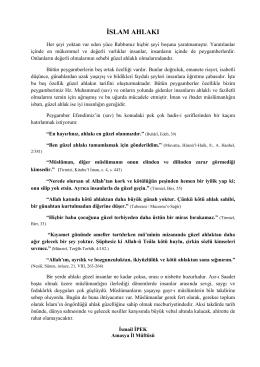 İslam Ahlakı konulu yazı.