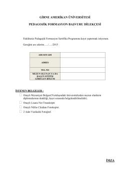 formasyon başvuru dilekçesi - Girne Amerikan Üniversitesi