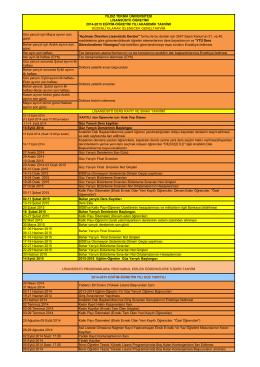 2014-2015 Lisansüstü Eğitim-Öğretim Yılı Akademik Takvimi