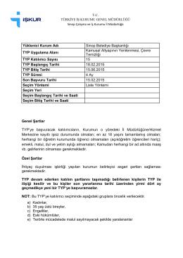 Yüklenici Kurum Adı Sinop Belediye Başkanlığı TYP Uygulama
