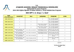 Optisyenlik 1. Sınıf 2. Grup (Bahar Dönemi-2. Yarıyıl)