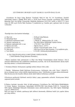 Sayfa 1 / 3 ZEYTİNBURNU DR REŞİT GALİP İLKOKULU KANTİN