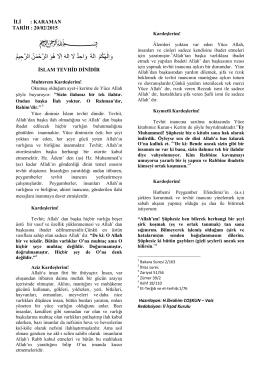 islam tevhi - Karaman İl Müftülüğü