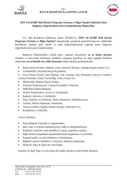 KOBİ Mali Destek Programı (Turizm ve Diğer İmalat) BD Alım