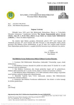 Mal Bildirim Beyannamesi - Personel Daire Başkanlığı