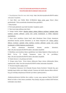 BEKDP Yurtiçi Kongre/Konferans Sonrası Teslim Edilmesi Gereken