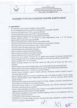 Ihaleler/RADARLI KAPI TEKNİK ŞARTNAMESİ