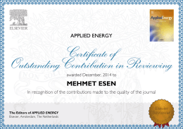 MEHMET ESEN The Editors of APPLIED ENERGY