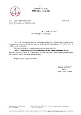 Özür durumu yer değiştirme iptali - Ahmetli İlçe Milli Eğitim Müdürlüğü