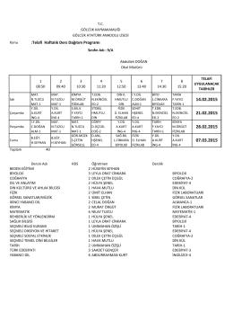 :Telafi Haftalık Ders Dağıtım Programı