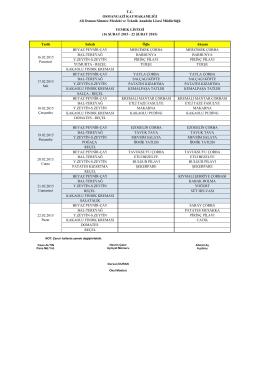 16-22 Şubat 2015 Yemek Listesi