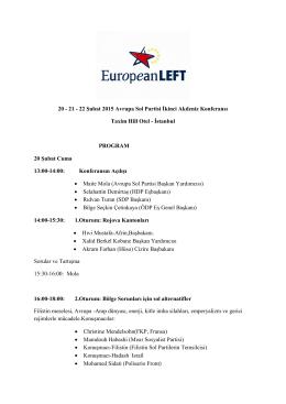 20 - 21 - 22 Şubat 2015 Avrupa Sol Partisi İkinci Akdeniz