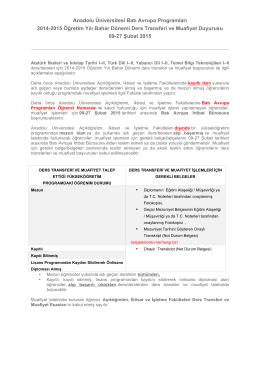 Anadolu Üniversitesi Batı Avrupa Programları 2014