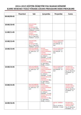 2014-2015 eğitim-öğretim yılı bahar dönemi kamu hukuku tezli