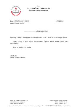 37525743/140/1754873 17/02/2015 Konu: Öğrenci Servis