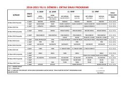2014-2015 yılı ıı. dönem ı. ortak sınav programı