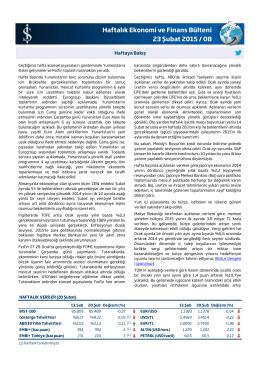 Haftalık Ekonomi ve Finans Bülteni 23 Şubat 2015 / 08