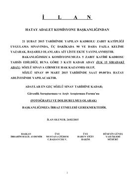 kadrolu katiplik sözlüye girmeye hak kazananlar...24-02-2015