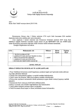 Konu: Kati Teklif vermeye davet (2015/104)