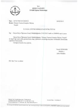 """ƒı """"%,ä KiLis vALıLıĞı - Kilis Milli Eğitim Müdürlüğü"""