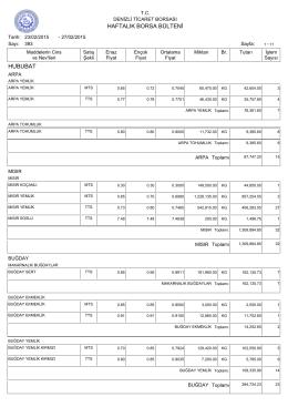 27 Şubat Haftalık Bülten - Denizli Ticaret Borsası