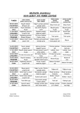 Şubat Ayı Yemek Listesi