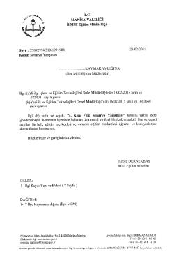 İl Milli Eğitim Müdürlüğü´nün 23/02/2015 tarih 1991984 sayılı