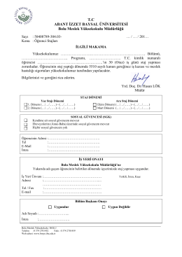 işyeri staj kabul formu - Bolu Meslek Yüksekokulu