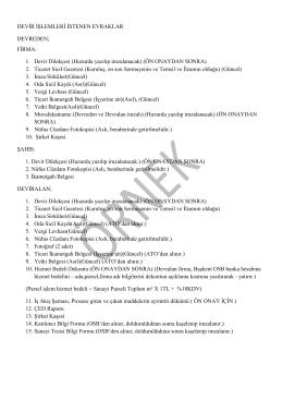 Devir İşlemleri - Başkent Organize Sanayi Bölgesi
