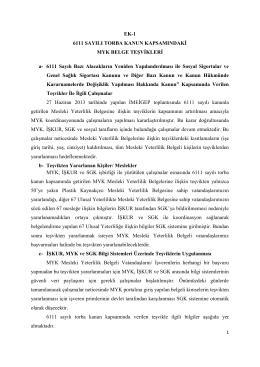 6111 Sayılı Torba Kanun Kapsamındaki MYK Belge