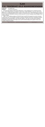 2 Mart 2015 İLAN T.C. TEKİRDAĞ AİLE MAHKEMESİNDEN
